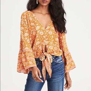 American Eagle Orange Floral Tie Front Top